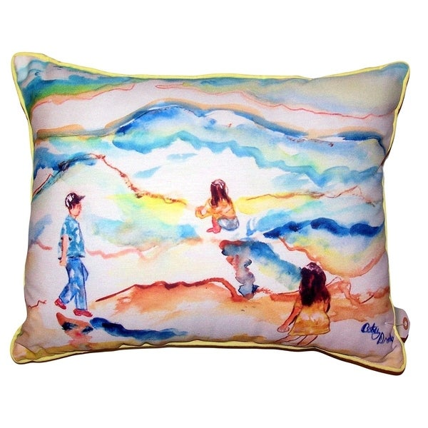 Playing at the Beach Extra Large Pillow 20x24