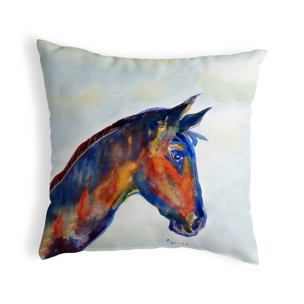 Blue Horse Small No-Cord Pillow 12x12