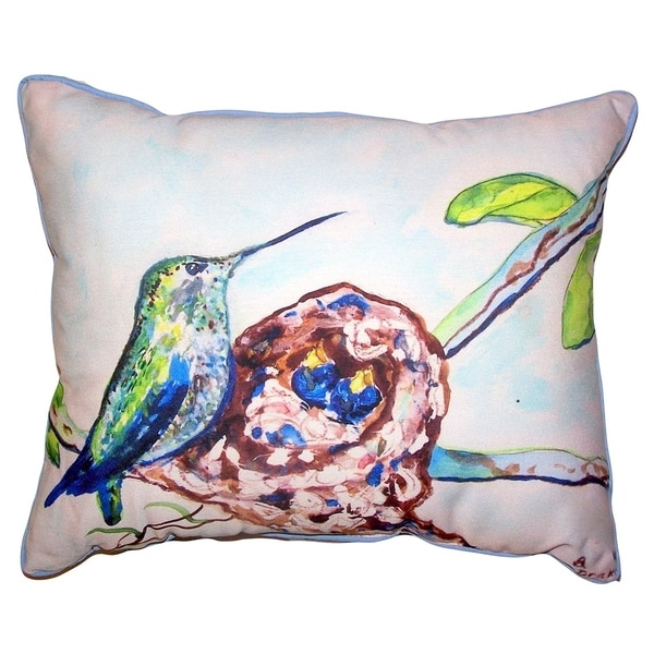 Hummingbird & Chicks Small Outdoor/Indoor Pillow 11x14