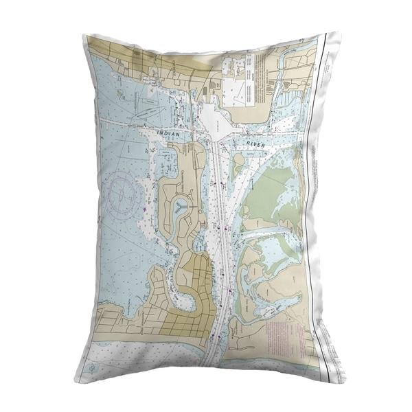 Fort Pierce Harbor, FL Nautical Map Noncorded Pillow 11x14