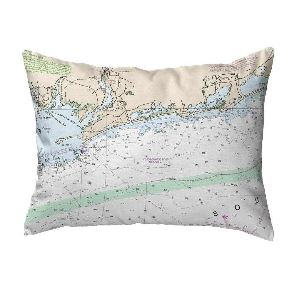 Block Island Sound, RI Nautical Map Noncorded Pillow 11x14 (Knife Edge - Accent - Nautical & Coastal) -  Betsy Drake Interiors, KS13205WH