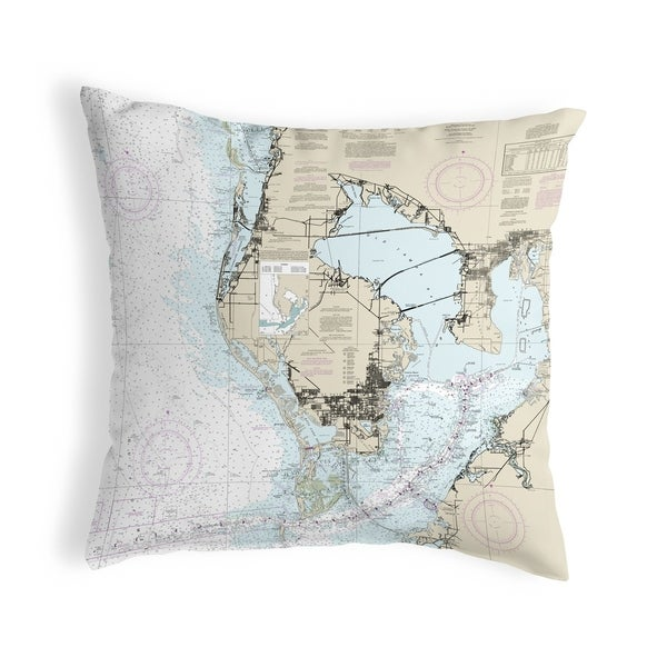 Tampa Bay, FL Nautical Map Noncorded Pillow 12x12