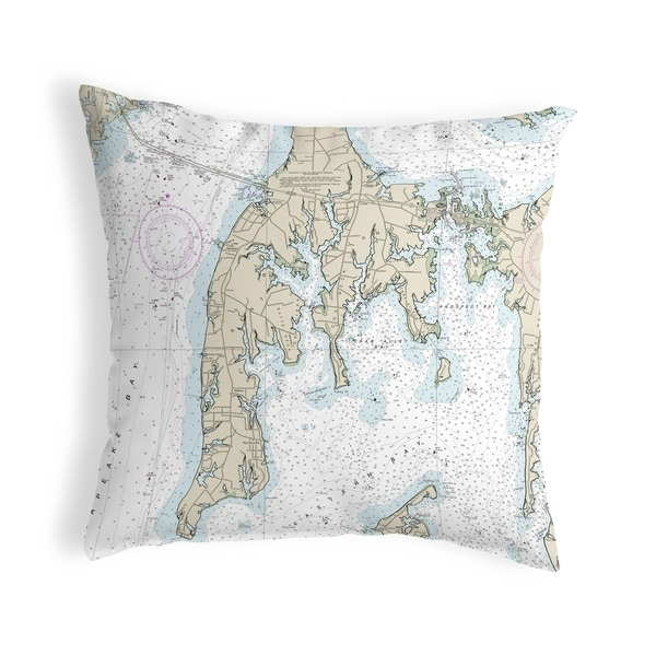 Kent Island, MD Nautical Map Noncorded Pillow 12x12