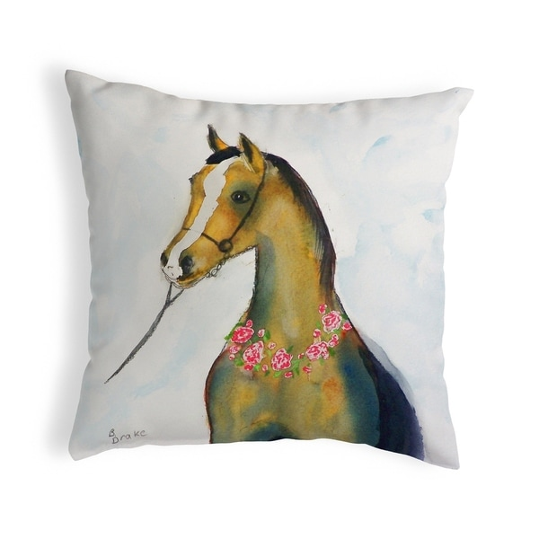 Horse & Garland Small No-Cord Pillow 12x12