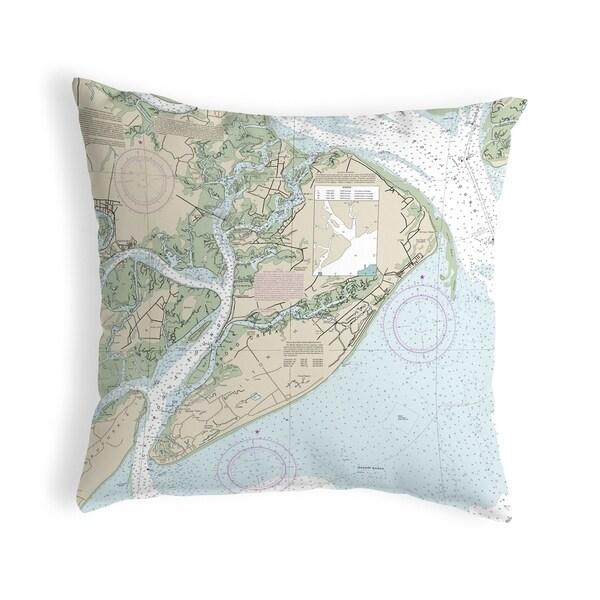 Hilton Head, SC Nautical Map Noncorded Pillow 12x12