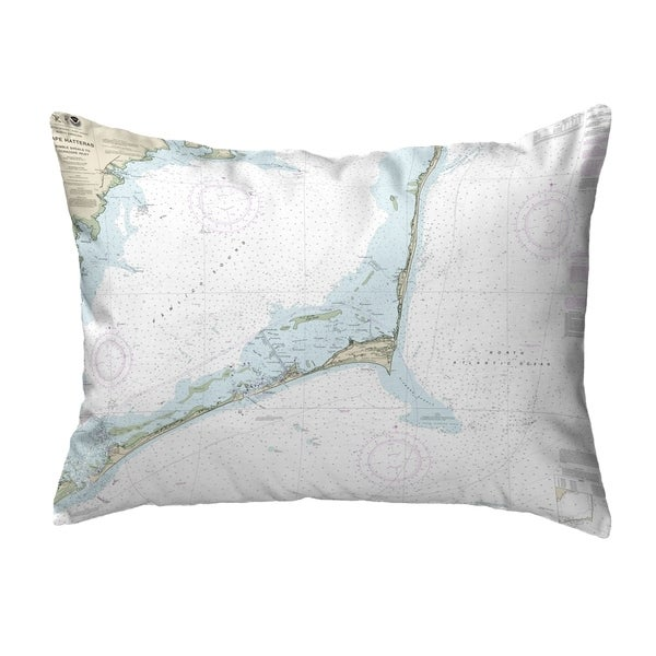 Cape Hatteras, NC Nautical Map Noncorded Pillow 11x14