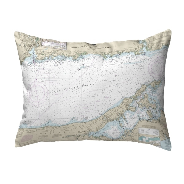 Long Island Sound - Eastern Part, NY Nautical Map Noncorded Pillow 11x14