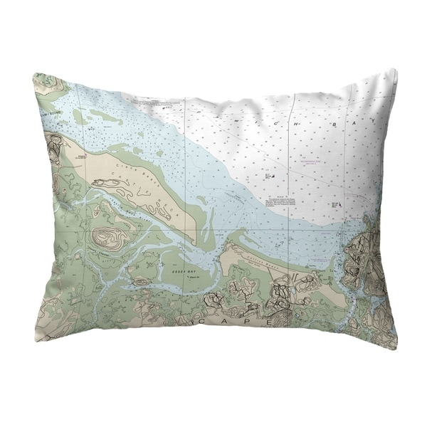 Essex Bay and Essex River, MA Nautical Map Noncorded Pillow 11x14
