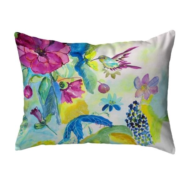Hummingbird & Garden Noncorded Pillow 11x14