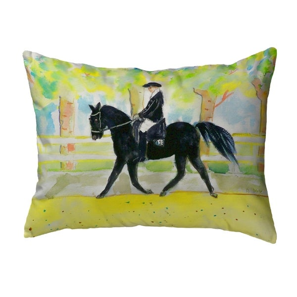 Black Horse & Rider Small No-Cord Pillow 11x14