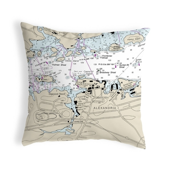 Alexandria Bay, NY Nautical Map Noncorded Pillow 12x12