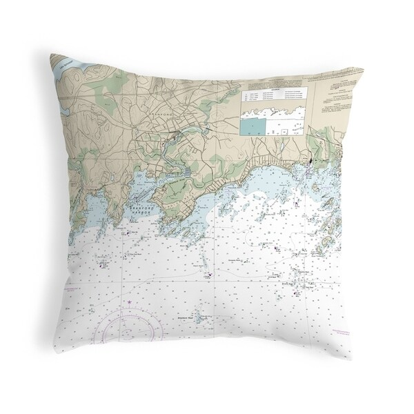 Branford Harbor - Indian Neck, CT Nautical Map Noncorded Pillow 12x12
