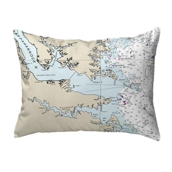 Chesapeake Bay, VA Nautical Map Noncorded Pillow 11x14