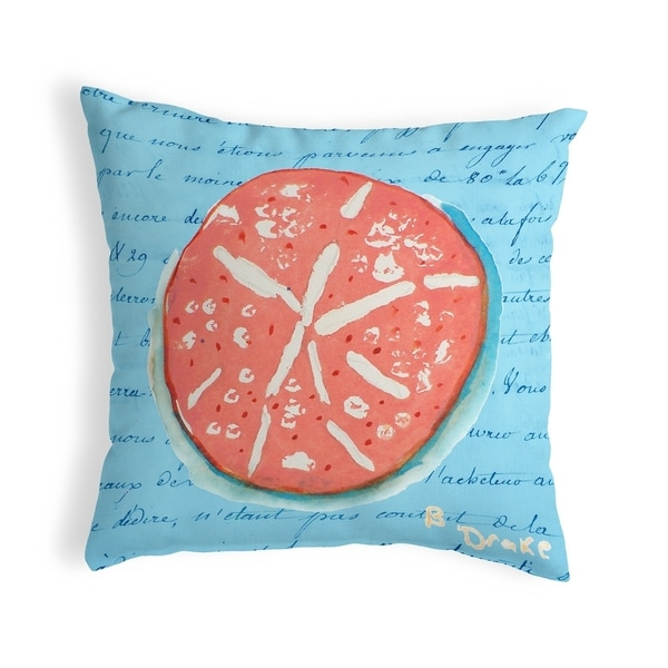 Coral Sand Dollar Blue Small No-Cord Pillow 12x12