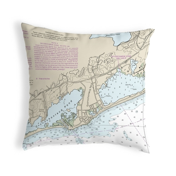 Block Island Sound - Quonochontaug, RI Nautical Map Noncorded Pillow 12x12