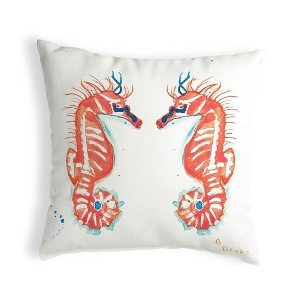 Coral Sea Horses Small No-Cord Pillow 11x14