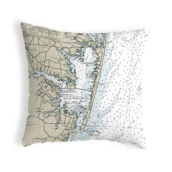 Fenwick Island to Chincoteague Inlet, VA Nautical Map Noncorded Pillow 12x12
