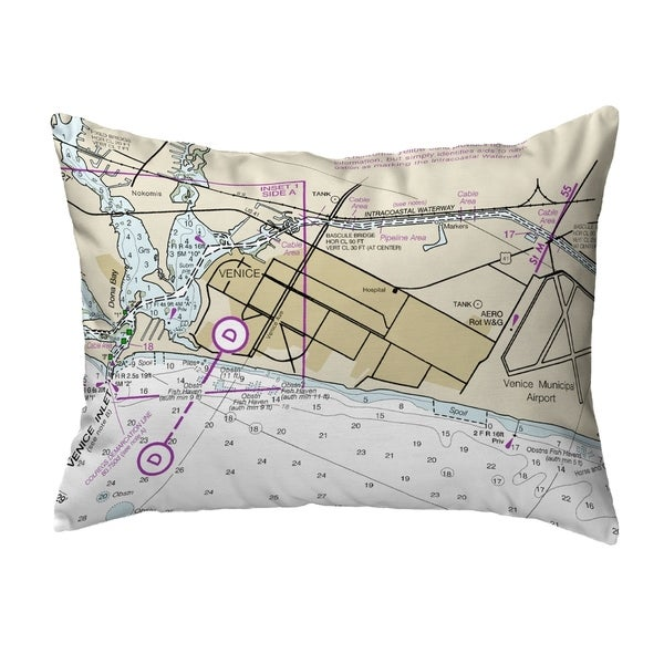 Venice Inlet, FL Nautical Map Noncorded Pillow 11x14