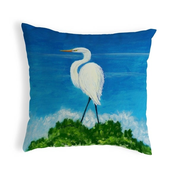 Great Egret Small No-Cord Pillow 12x12