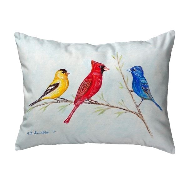 Three Birds Small No-Cord Pillow 11x14