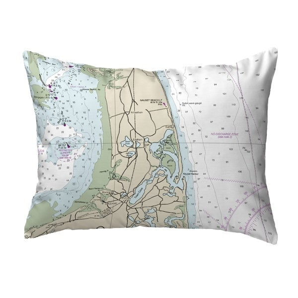 Cape Cod - Nauset Beach, MA Nautical Map Noncorded Pillow 11x14