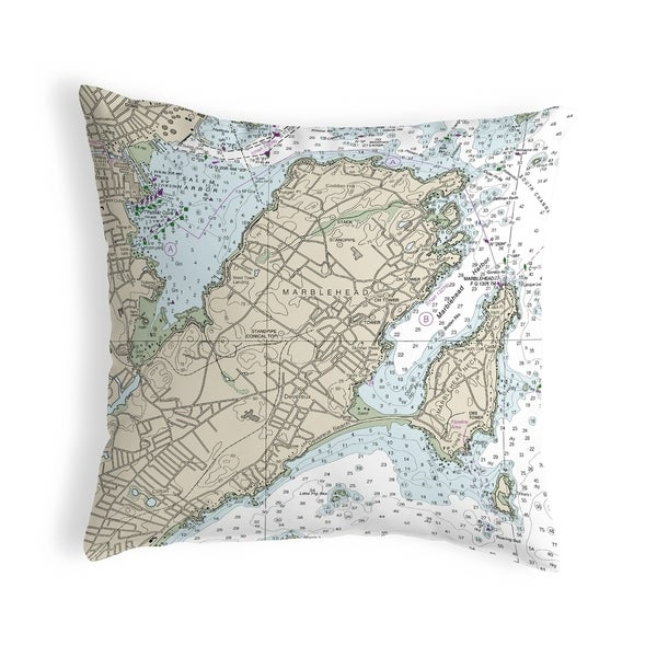 Marblehead, MA Nautical Map Noncorded Pillow 12x12