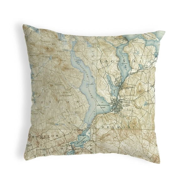 Lake Winnisquam, NH Nautical Map Noncorded Pillow 12x12