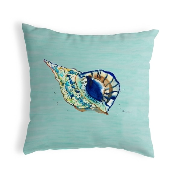 Betsy's Shell - Teal Small No-Cord Pillow 12x12