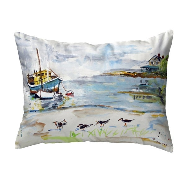 Boat & Sandpipers Small No-Cord Pillow 11x14