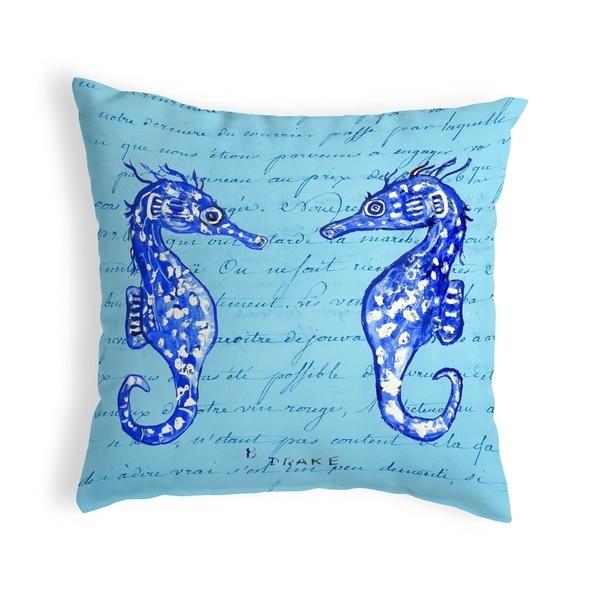 Blue Sea Horses Small No-Cord Pillow 12x12