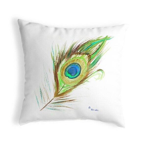 Peacock Feather Small No-Cord Pillow 12x12