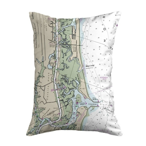 Sunset Beach, NC Nautical Map Noncorded Pillow 11x14