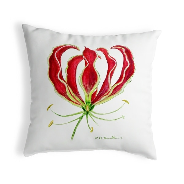Red Lily Small No-Cord Pillow 12x12