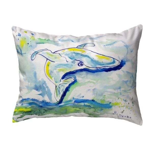 Blue Whale Small No-Cord Pillow 11x14