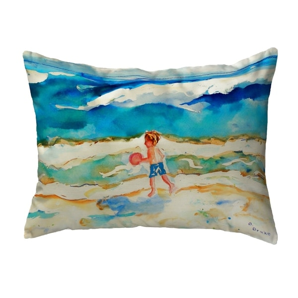 Boy and Ball Small No-Cord Pillow 11x14