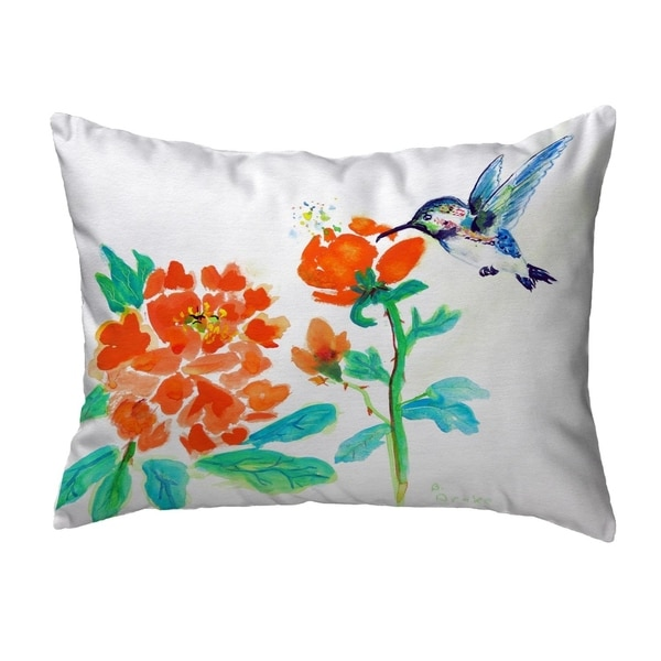 Hummingbird & Red Flower Small No-Cord Pillow 11x14