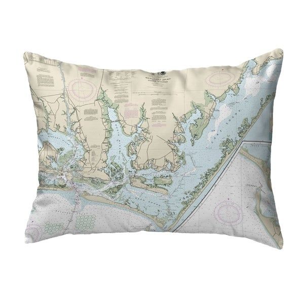 Beaufort Inlet and Part of Core Sound, NC Nautical Map Noncorded Pillow 11x14