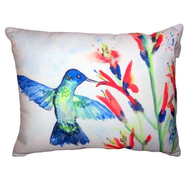 Hummingbird & Fire Plant No Cord Pillow 16x20