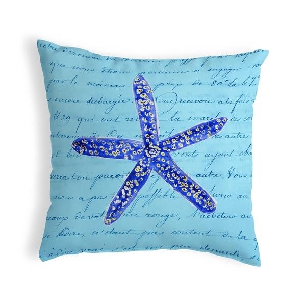 Blue Starfish Small No-Cord Pillow 12x12