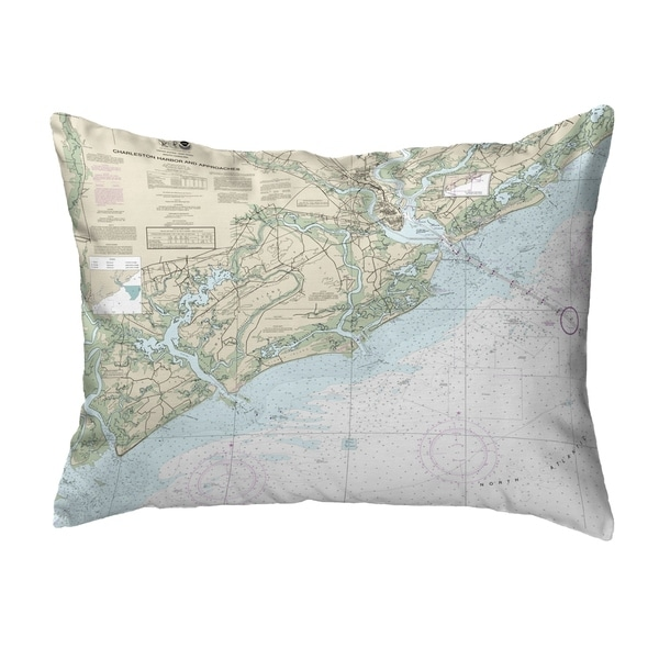 Charleston Harbor and Approaches, SC Nautical Map Noncorded Pillow 11x14