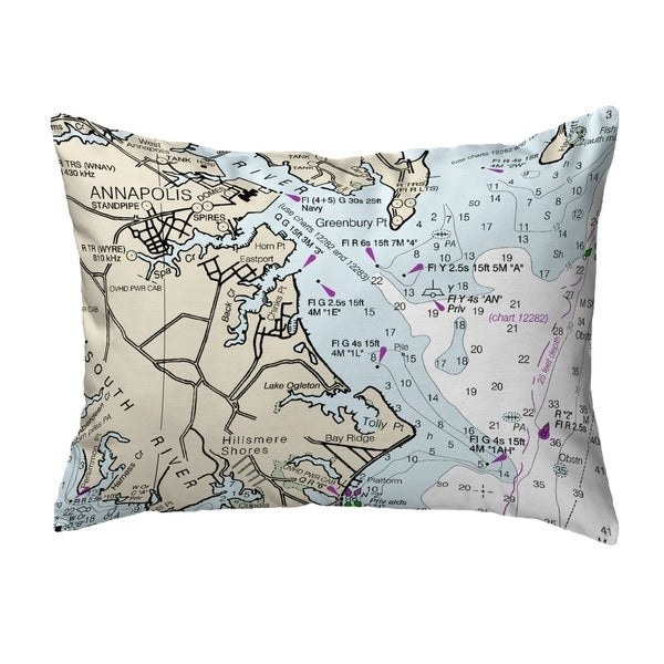 Annapolis, MD Nautical Map Noncorded Pillow 11x14