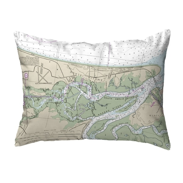 Amelia Island, FL Nautical Map Noncorded Pillow 11x14