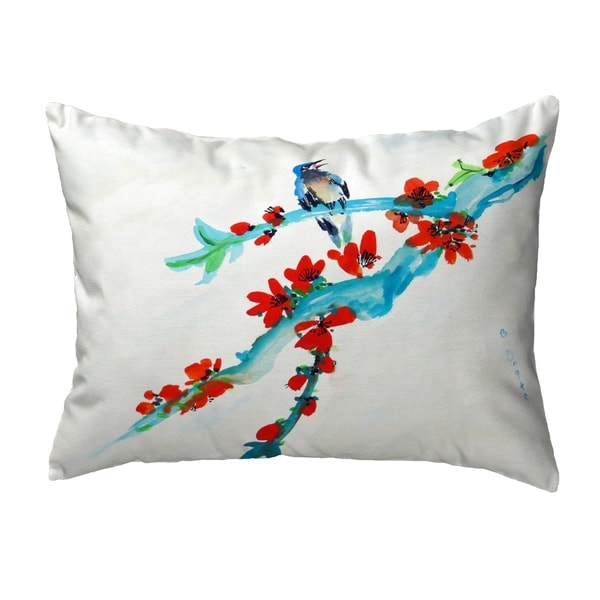 Red Buds & Bird Small No-Cord Pillow 11x14