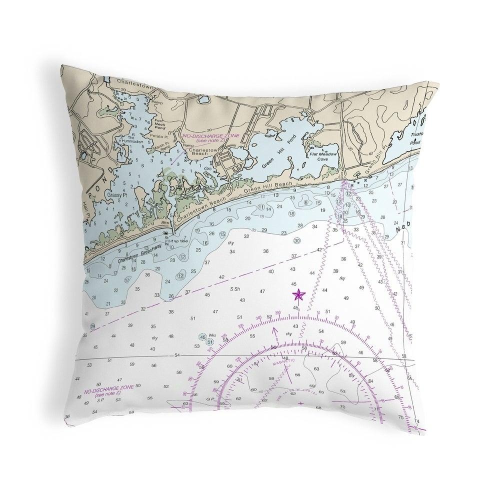 Block Island Sound - Charleston, RI Nautical Map Noncorded Pillow 12x12 (Knife Edge - Accent - Nautical & Coastal) -  Betsy Drake Interiors, KS13215C