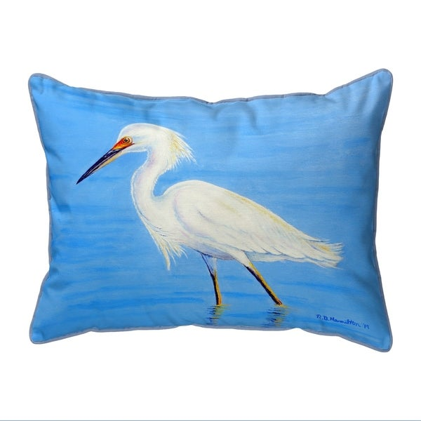 Stalking Snowy Egret Small Corded Pillow 11x14