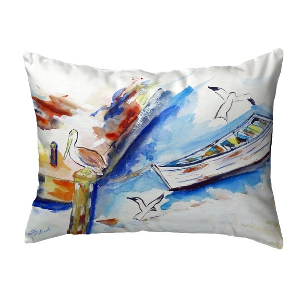 Rowboat & Birds Small No-Cord Pillow 11x14
