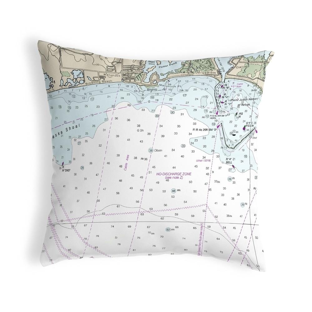 Block Island Sound - Matunuck, RI Nautical Map Noncorded Pillow 12x12 (Knife Edge - Accent - Nautical & Coastal) -  Betsy Drake Interiors, KS13215D