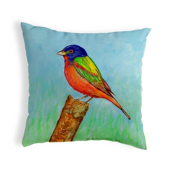 Painted Bunting Small No-Cord Pillow 12x12