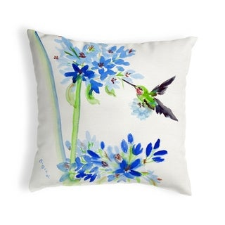 Hummingbird & Blue Flowers No Cord Pillow 18x18