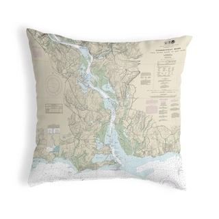 Connecticut River, CT Nautical Map Noncorded Pillow 12x12